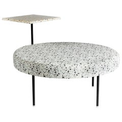 Stracciatella Seat with Table i Contemporary Terrazzo, Steel & Terrazzo Fabric
