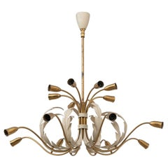 Strada Milano Large 16 Lights Italian Brass Midcentury Chandelier, Late 1940s