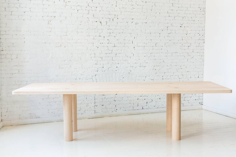 Contemporary Wood Straight Leg Column Dining Table in Maple by Fort Standard In New Condition For Sale In Brooklyn, NY