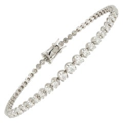 Straight Line Setting Tennis Bracelet 18k White Gold Diamond for Her