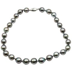 Strand of Baroque Tahitian Pearls with 14 Karat White Gold Clasp