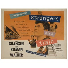 'Strangers on a Train' 1951 U.S. Half Sheet Film Poster