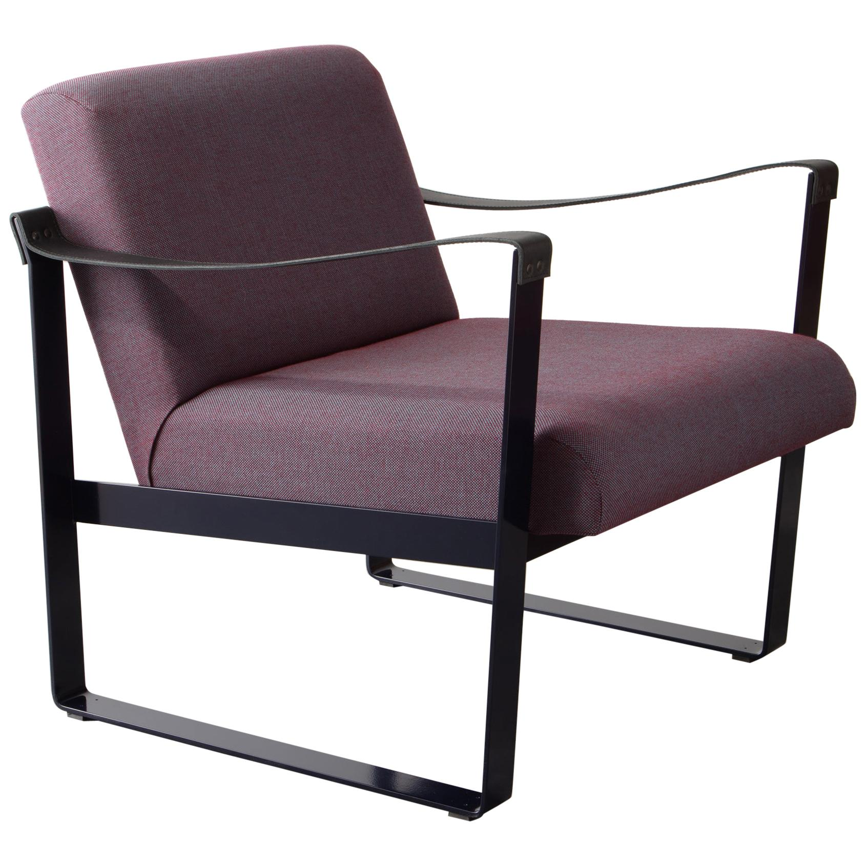 Strap Lounge Chair, upholstery in bouclé, felt, or COM, Made in USA