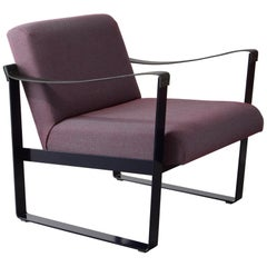 Strap Lounge Chair Shown in Black Blue Powder Coat and Burgundy Upholstery