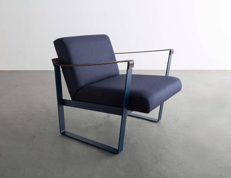 Modern Strap Lounge Chair, Blue Powder Coated Steel, Leather, Navy Cotton Upholstery For Sale