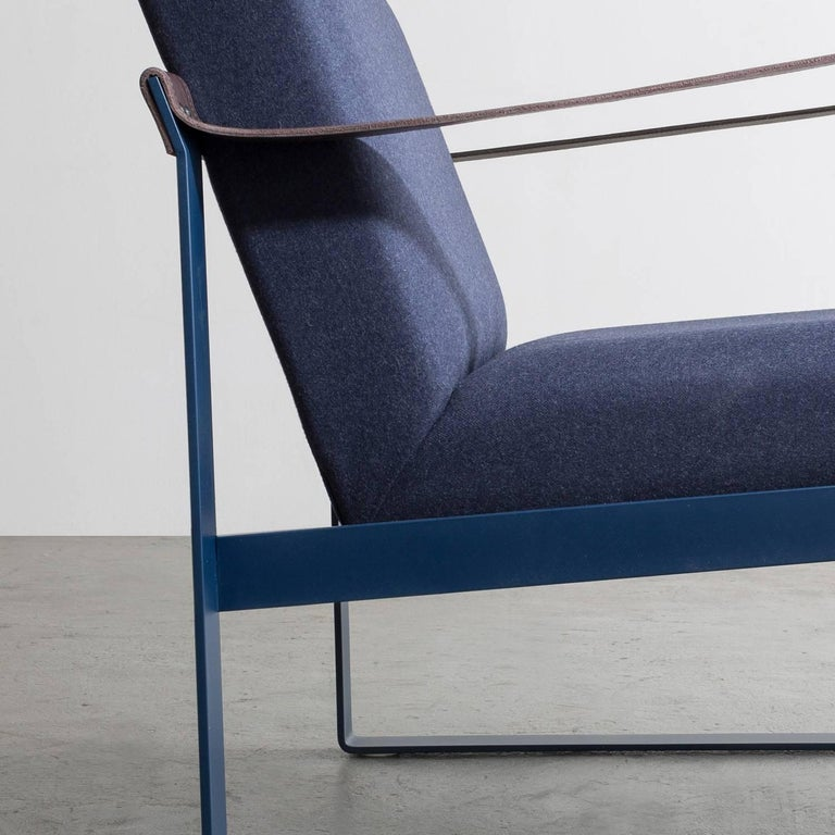 Hand-Crafted Strap Lounge Chair, Blue Powder Coated Steel, Leather, Navy Cotton Upholstery For Sale
