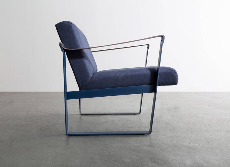American Strap Lounge Chair, Blue Powder Coated Steel, Leather, Navy Cotton Upholstery For Sale