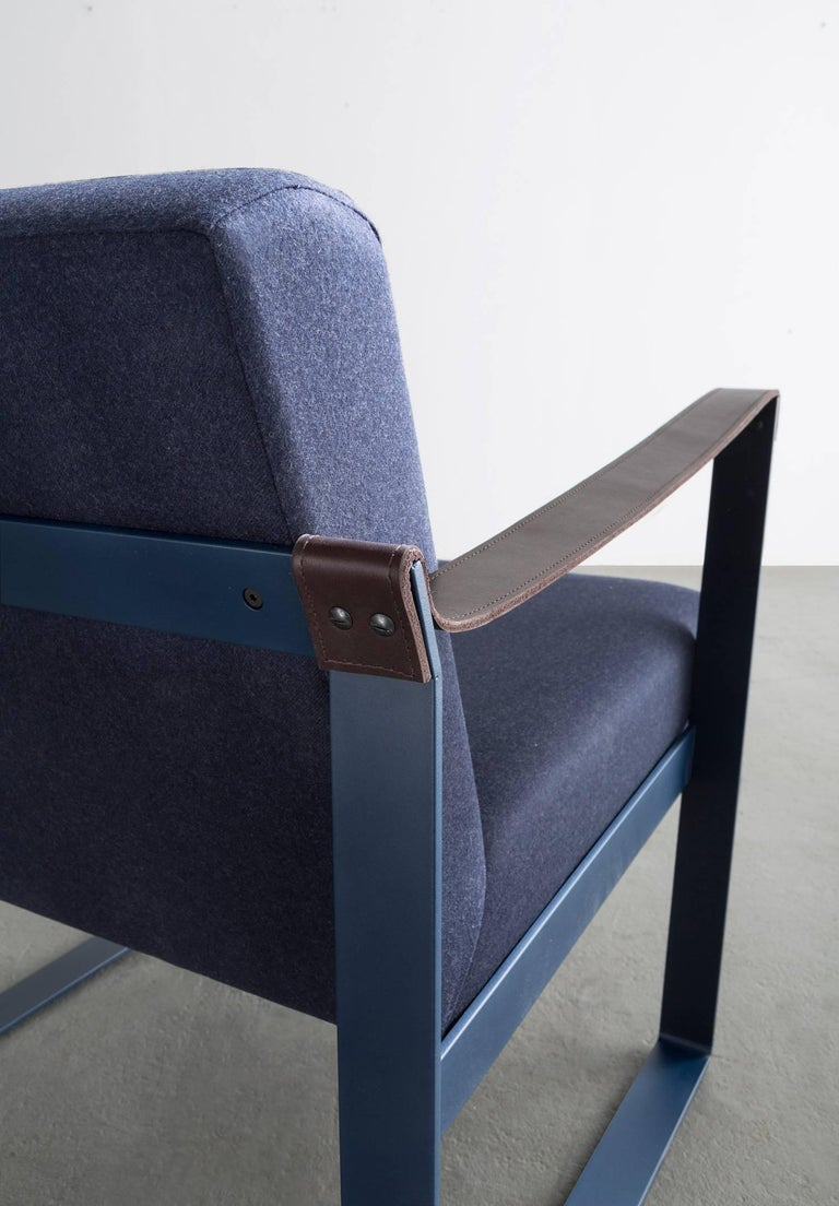 Strap Lounge Chair, Blue Powder Coated Steel, Leather, Navy Cotton Upholstery In Excellent Condition For Sale In Brooklyn, NY