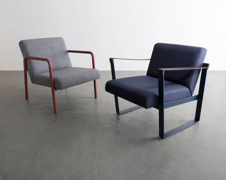 Contemporary Strap Lounge Chair, Blue Powder Coated Steel, Leather, Navy Cotton Upholstery For Sale