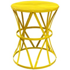 Strap Metal Canary Yellow Drum Table, 1960s