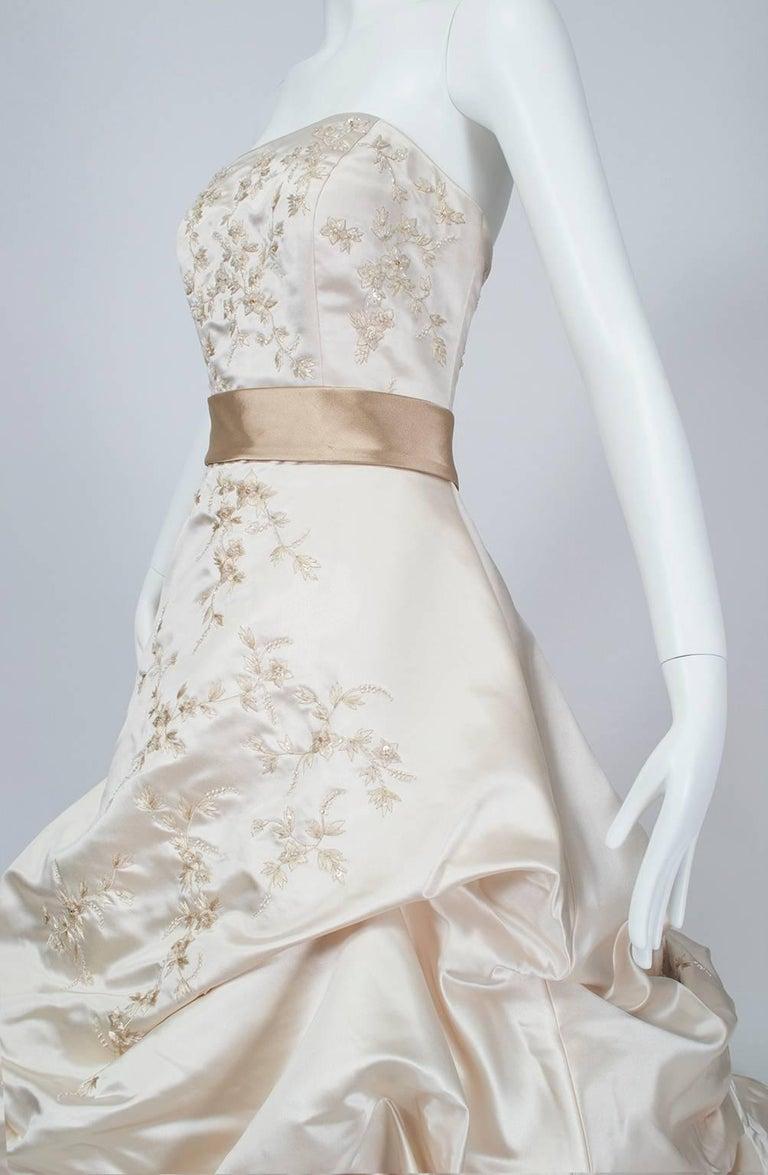 Oleg Cassini Strapless Swarovski Crystal Chapel Train Wedding Gown ...