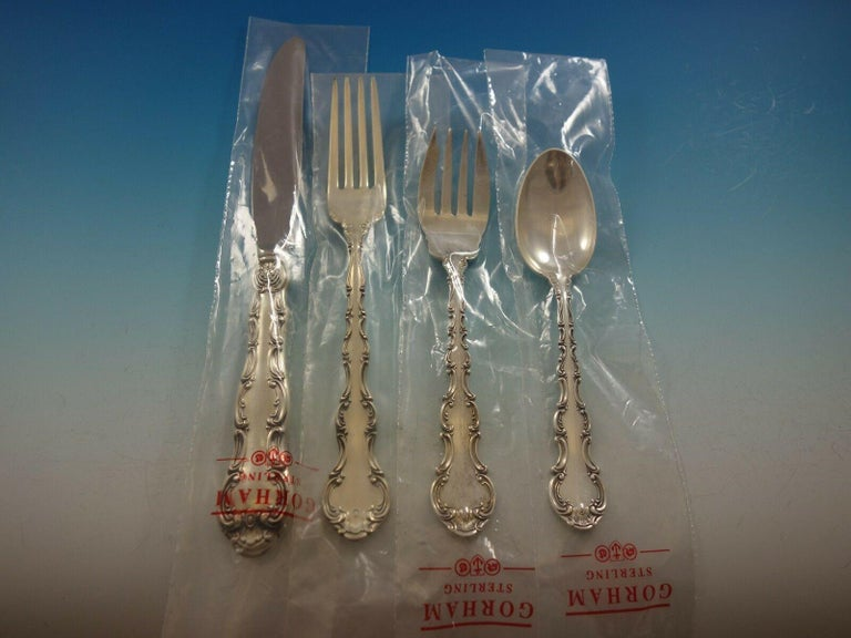 Strasbourg by Gorham Sterling Silver Flatware Set 12 Service 117 Pcs Place New In Excellent Condition For Sale In Big Bend, WI