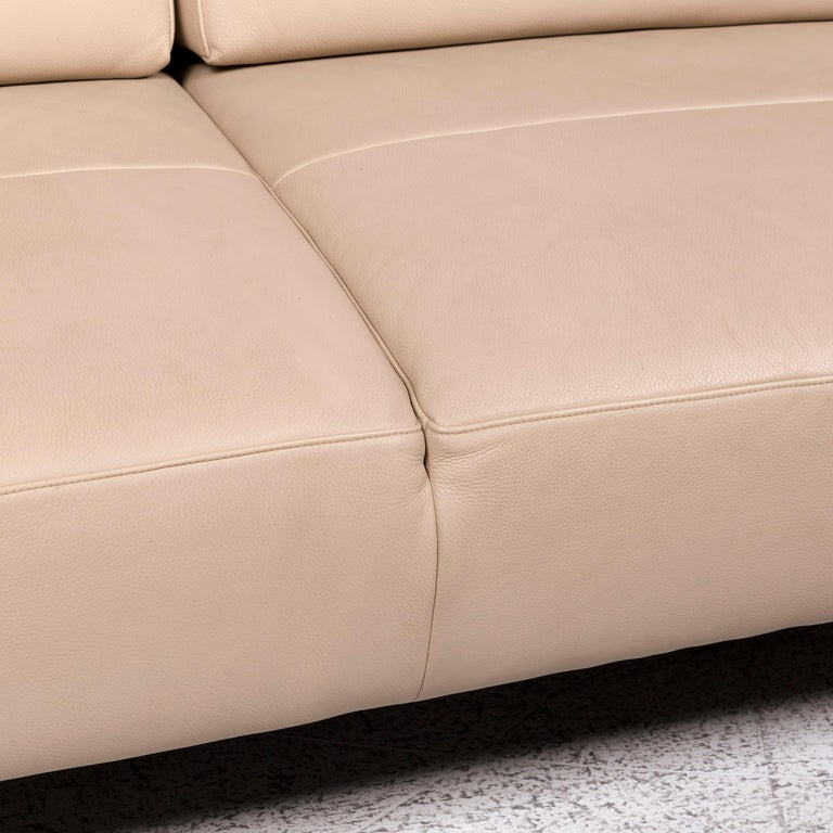 Strasses Matteo Leather Sofa Cream Two-Seat Couch Relax Function
