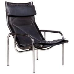 Strässle Designer Leather Armchair Black Genuine Leather