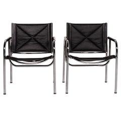Strässle Eichenberger 127-1 C-11 Leather Chair Set Black Function 2 Armchairs