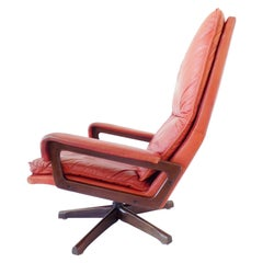 Strässle King Chair by Andre Vandenbeuck, mid-century modern, red leather, swiss