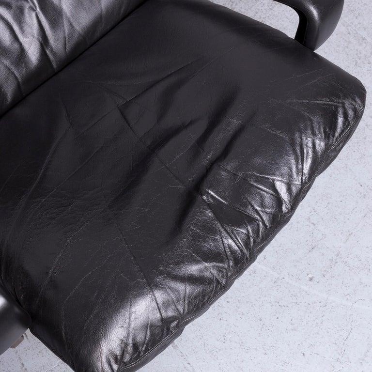 Swiss Strässle King Designer Leather Armchair Black Chair