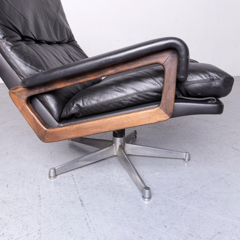 Strässle King Designer Leather Armchair Black Chair In Good Condition In Cologne, DE