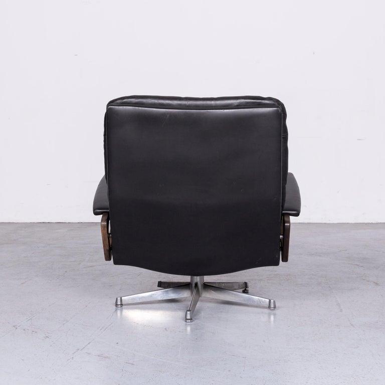 Strässle King Designer Leather Armchair Black Chair 1