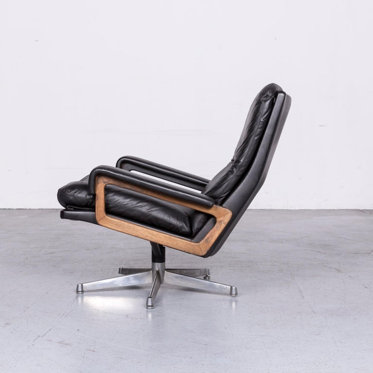 Strässle King Designer Leather Armchair Black Chair 2