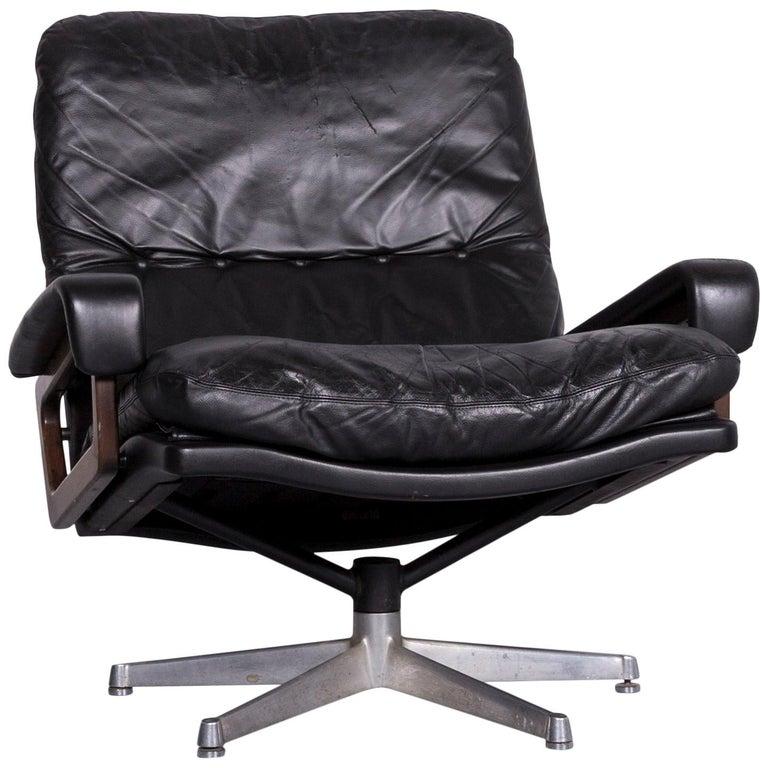 Strässle King Designer Leather Armchair Black Chair