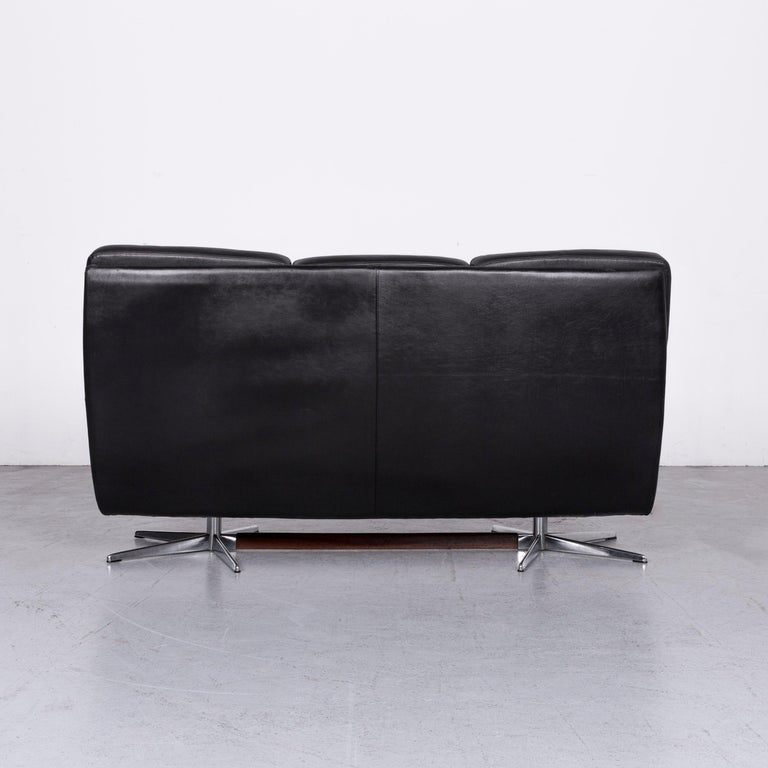 Strässle King Designer Leather Sofa Black Three-Seat Couch 5