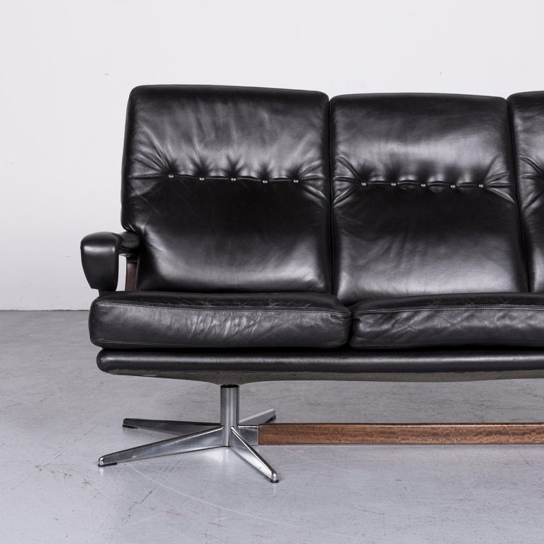 Swiss Strässle King Designer Leather Sofa Black Three-Seat Couch