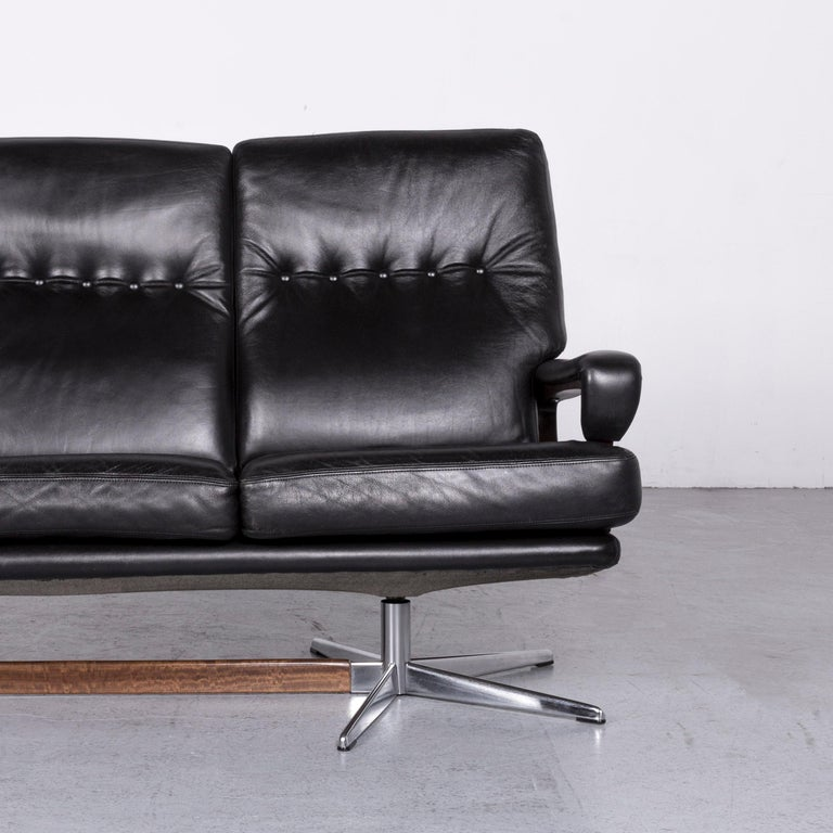 Strässle King Designer Leather Sofa Black Three-Seat Couch In Good Condition In Cologne, DE