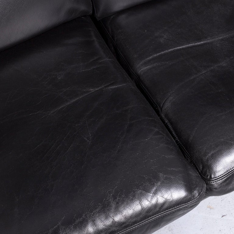 Contemporary Strässle King Designer Leather Sofa Black Three-Seat Couch