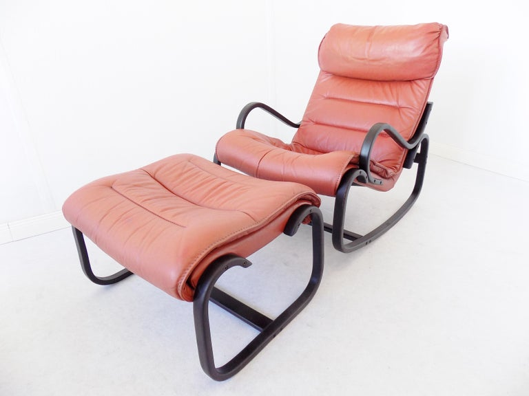Remarkable Strassle Rocking Chair With Ottoman In Red Leather At 1Stdibs Short Links Chair Design For Home Short Linksinfo
