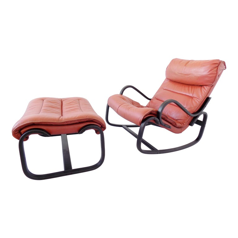 Super Strassle Rocking Chair With Ottoman In Red Leather At 1Stdibs Short Links Chair Design For Home Short Linksinfo