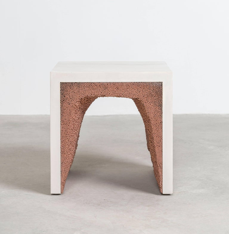 Cast Strata 3 Side Table, White Cement and Copper BBS by Fernando Mastrangelo For Sale