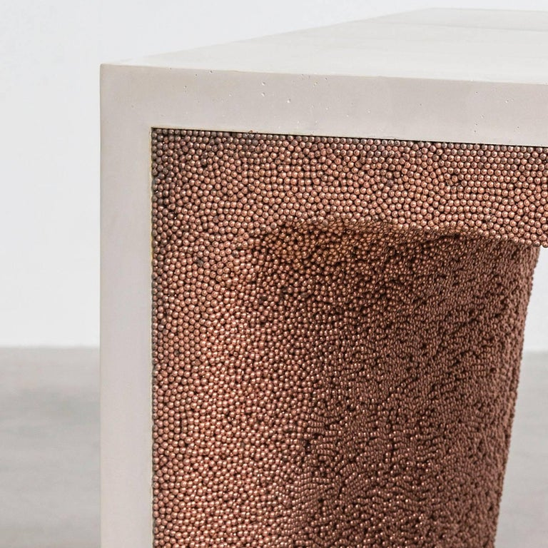 Strata 3 Side Table, White Cement and Copper BBS by Fernando Mastrangelo In New Condition For Sale In Brooklyn, NY
