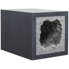 Strata 4 Side Table, Black Cement and Grey Rock Salt by Fernando Mastrangelo