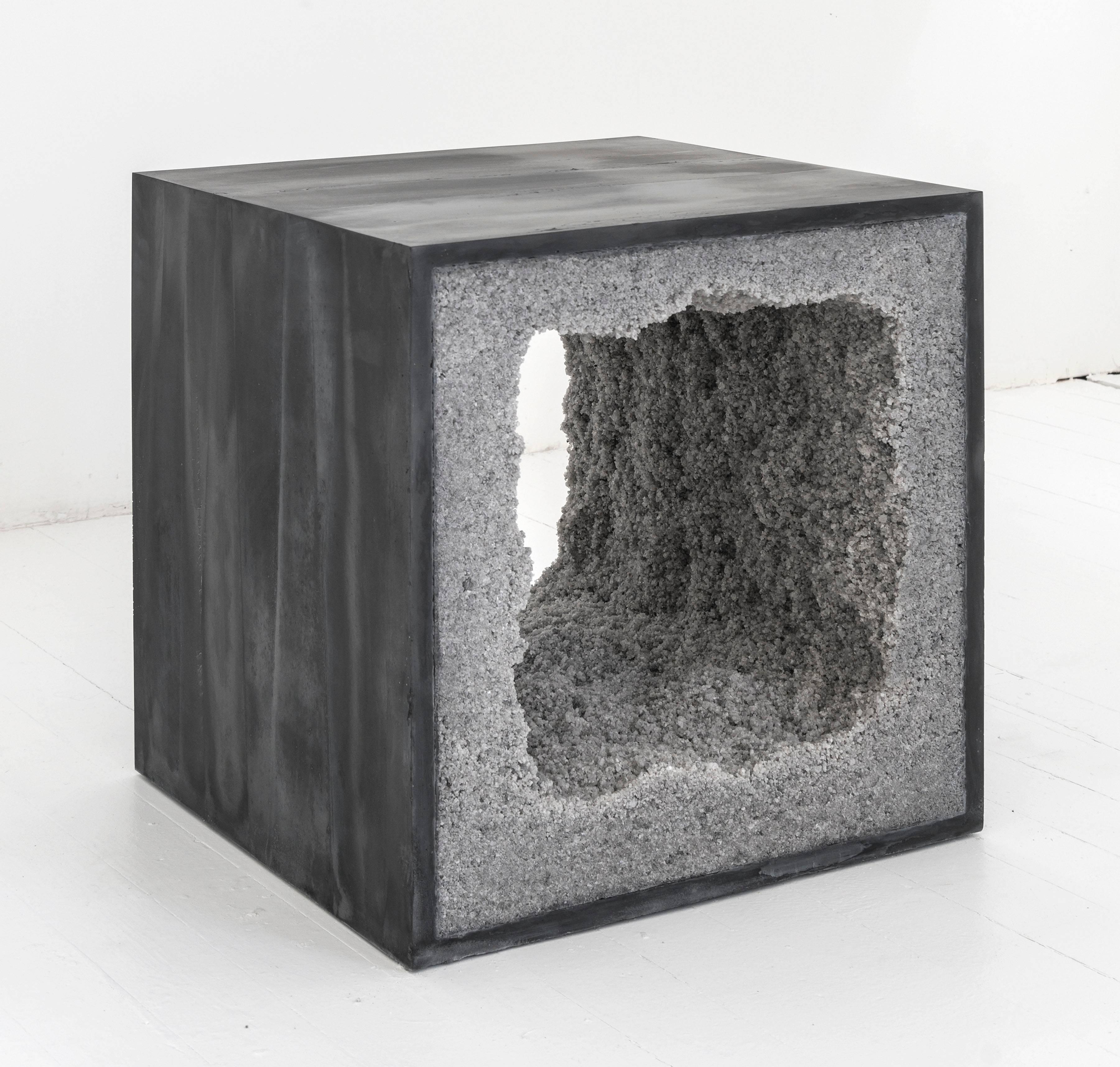 Cement side table Concrete Block Composed From Combination Of Materials The Angular Side Table Consists Of Hand 1stdibs Strata Side Table Black Cement And Grey Rock Salt By Fernando