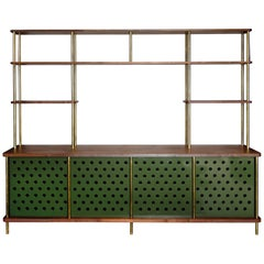 Strata Credenza in Walnut, Brass and Aluminum by Fort Standard, in Stock