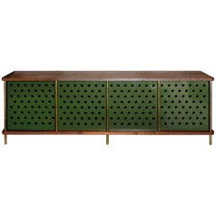 Strata Credenza with No Shelves in Walnut and Brass by Fort Standard, in Stock