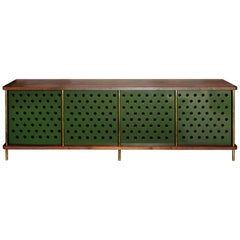 4 Door Strata Credenza with No Top Shelves in Walnut and Brass by Fort Standard