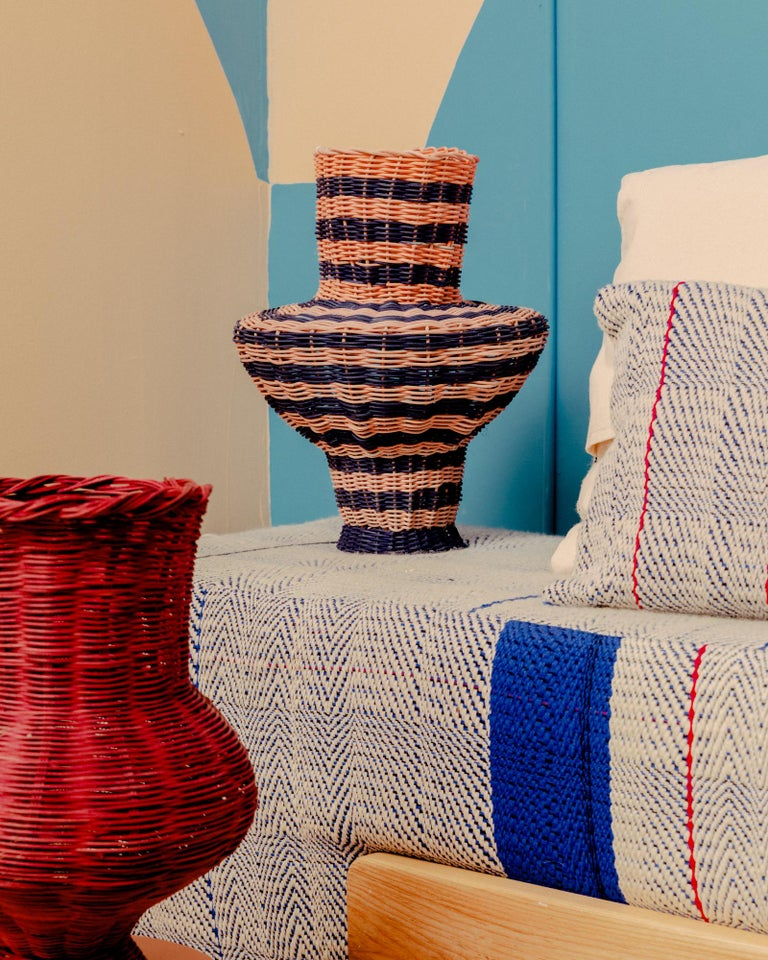 Strata Vase Woven in Pink and Indigo by Studio Herron In New Condition For Sale In Chicago, IL