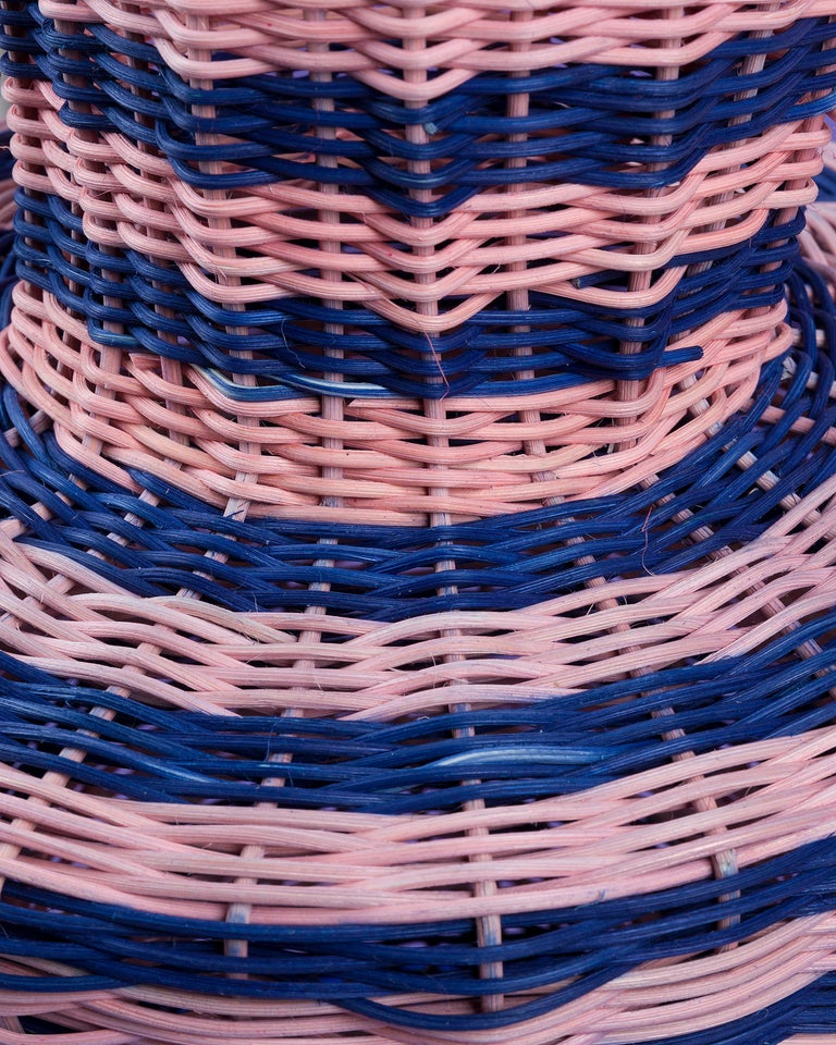 Modern Strata Vase Woven in Pink and Indigo by Studio Herron For Sale