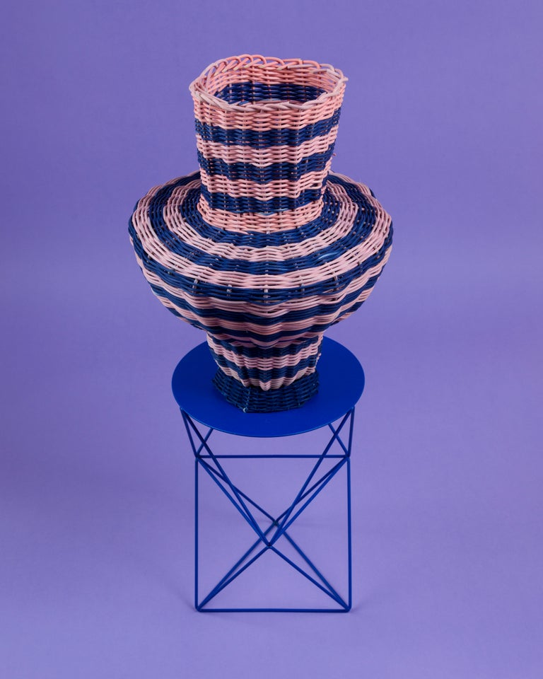 American Strata Vase Woven in Pink and Indigo by Studio Herron For Sale