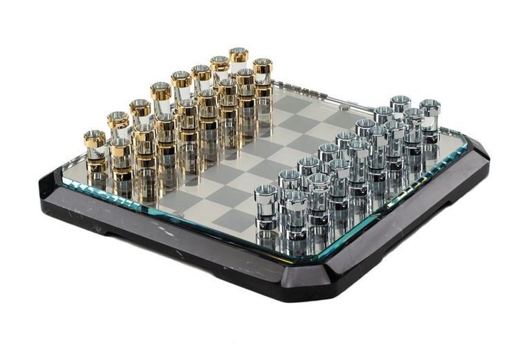 Polished Stratego Chessboard by Lorenzo Di Giovanni for Teckell For Sale