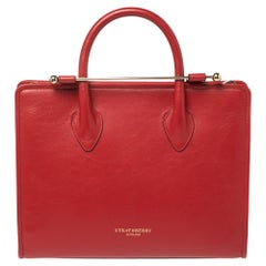 Strathberry Red Leather Midi Tote