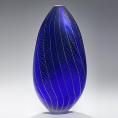 Stratiform Cobaltum Zanfirico 001, a unique blue glass sculpture by Liam Reeves