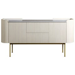 'Stratton' Beaded Wood and Marble Contemporary Sideboard