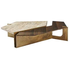 Stratus Coffee Table, Contemporary Centre Table in Aged Brass and Travertine