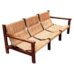 Straw and Oak Low Sofa, Spain, 1950s