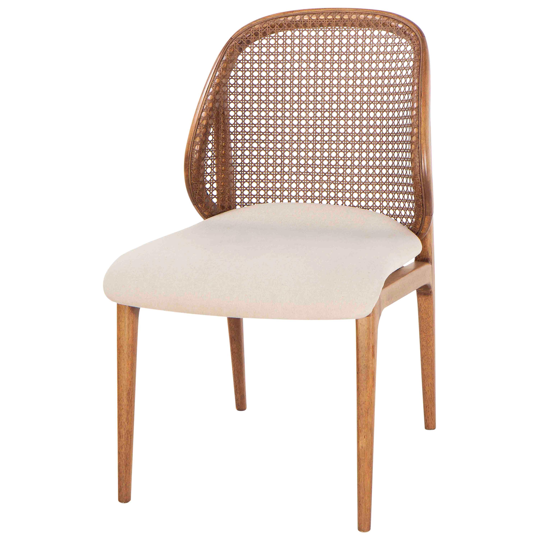 Cane Backrest, Seat Fabric Offwhite Dining Chair, Blumenau