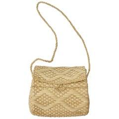 Straw Beige Vintage Basket  Shoulder Bag 1990s Italy