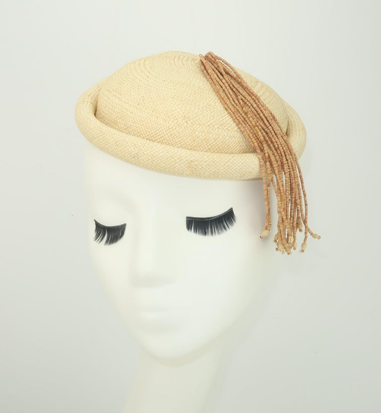 Straw Fascinator Style Hat With Beaded Tassel, C.1980 For Sale